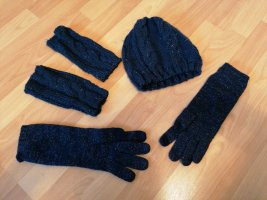 Knitted Gloves gold-colored-blue