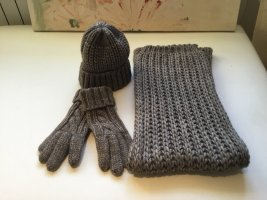 Knitted Scarf taupe alpaca wool