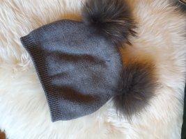 Unbekannte Marke Futrzana czapka jasnoszary-szary