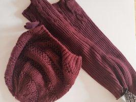 H&M Bonnet en crochet bordeau