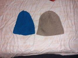 Crochet Cap grey brown-dark blue
