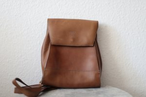 School Backpack cognac-coloured leather