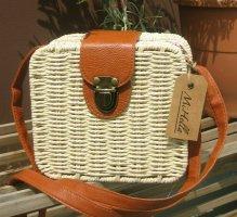 Bolso tipo cesta coñac-blanco puro