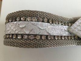 Vintage Cinturón color plata-blanco metal