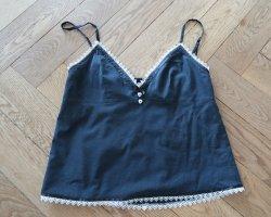 Sista Shei Top z cienkimi ramiączkami czarny-biały Bawełna