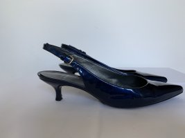Nachtblaue Slingback-Pumps in Lackleder