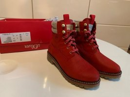 Nagelneu s.Oliver Leder Boots/Stiefeletten, Chili Rot, Casual-Look