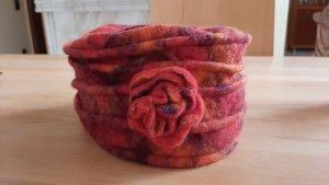 Sombrero de lana naranja oscuro-rojo oscuro