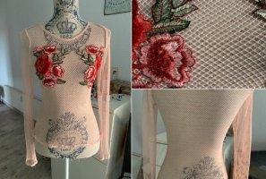 Netz Shirt - Rosé - Bestickt - Größe XS 32/34 - Langarm