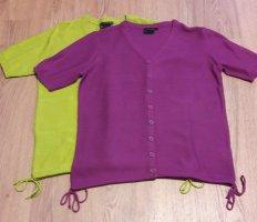 bpc bonprix collection Knitted Cardigan meadow green-dark violet cotton