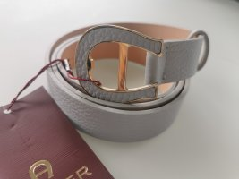Aigner Leather Belt light grey-pale blue leather