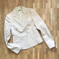 NEU Benetton Blazer XS 34 Beige Anzug Business Jacke Sakko Nadelstreifen Mantel