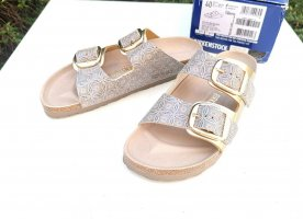 NEU Birkenstock Arizona Big Buckle Sandalen Gr. 40 Schmal Gold Ceramic Pattern Blue