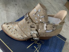 NEU! Boots/Stiefelette - Western/Biker - Größe 38 - LightGold