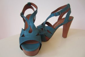 Bruno Premi Platform High-Heeled Sandal petrol-turquoise leather