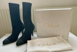 Chloé Heel Boots black-silver-colored