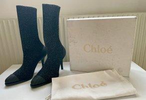 Chloé Laarzen met hak zwart-zilver