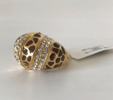 NEU Damen Cocktailring Ring vergoldet Leopard Kristallen Gold Modeschmuck Glam