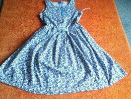 Lisa Campione Summer Dress white-steel blue cotton