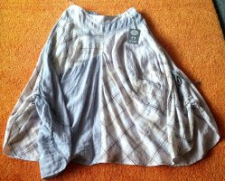 Lisa Campione Jupe en lin gris clair-bleu azur lin