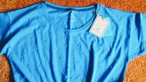 Basefield Boatneck Shirt cornflower blue-white cotton
