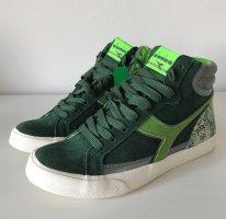 NEU Diadora Condor Reptile Sneaker 38 Grün Leder Schlangenmuster Hi Top Schuhe