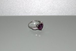 Neu Diamonique Ring 925er Silber pink ice + weißen Diamoniques
