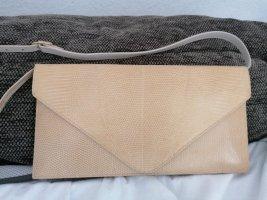Neu edle Vintage Clutch echt Leder Eidechse Beige Natur Handarbeit Unikat Schultertasche Tasche