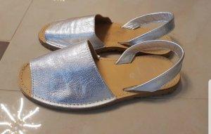 *NEU* Espadrilles Sandalen Silber Leder boho Made in Spain Gr. 37