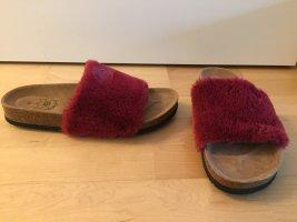 Comfort Sandals dark red leather