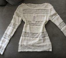 Only Top en maille crochet blanc cassé-blanc