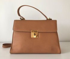 NEU Genuine Leather Made in Italy Kelly Damen Tasche Leder Camel Handtasche Bag