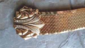Neu: Goldener Strechtgürtel mit Schuppen. Vorne eine schöne Schnalle