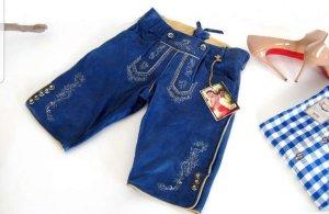Stockerpoint Leren broek staalblauw-korenblauw