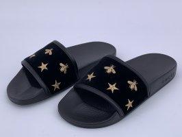 Gucci Beach Sandals black-gold-colored