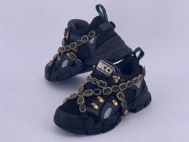 Gucci Basket à lacet noir-vert forêt