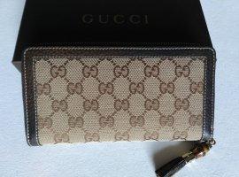 neu GUCCI Monogram Bamboo Geldbörse Geldbeutel Portemonnaie Wallet Zipp around