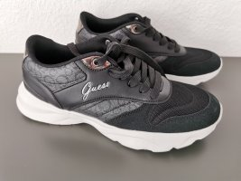 Guess Sneakers met veters wit-zwart