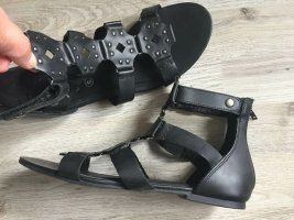 5 th Avenue Roman Sandals black leather