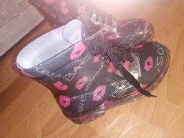 Love Moschino Gumowe buty czarny-różowy