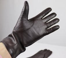 Leather Gloves dark brown-black brown leather