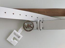 Michael Kors Ceinture en cuir blanc-argenté cuir