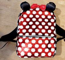 NEU: MINNIE MOUSE Rucksack mit Pailletten-Oberfläche in rot-weiss mit gepolsterten Satin-Ohren und roter Lackmasche