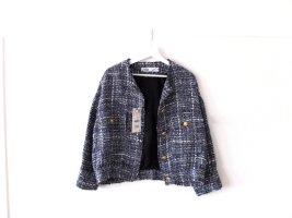Neu mit Etikett Zara Jacke Gr. L 40 blau Bouclé Tweed Bomberjacke Chanel Jäckchen