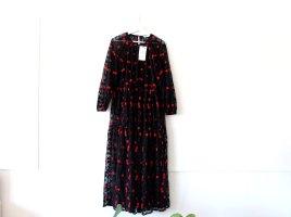 Neu mit Etikett Zara Kleid Midikleid Gr. L 40 schwarz rot gemustert Blumenmuster transparent sheer