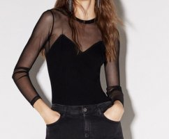 Bershka Mesh Shirt black