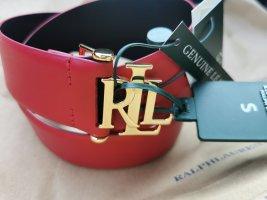 *Neu* Ralph Lauren Leder Gürtel 4cm rot mit goldener Schnalle Gr. S