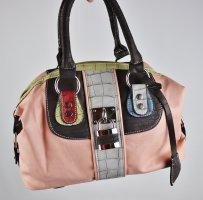 Neu Retro Handtasche Kossberg Tasche Shopper Rosa Bunt Elfe Schloss Braun Kroko  Bowling Bag