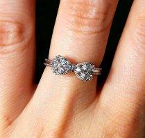 NEU Silber Ring filigran minimalistisch 925 er Silberring TOP Glitzer Schleife Geschenk