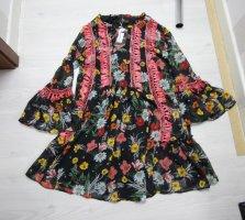 Sukienka tunika czarny-żółty